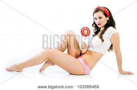 Pretty Pinup Girl In Panties With Big Lollipop