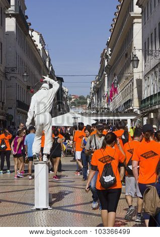 Participant At Lisbon Marathon Walking In Rua Augusta