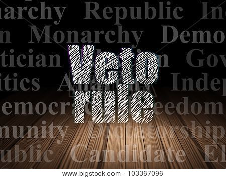 Political concept: Veto Rule in grunge dark room