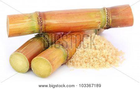 Piece Of Sugarcane With Sugar