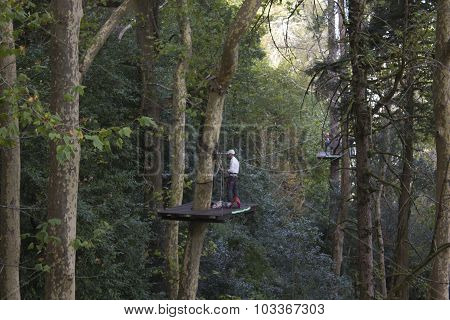 Man On An Elevated Platform At Work