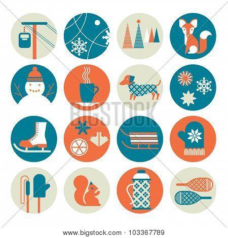 Winter Activity Icon Set
