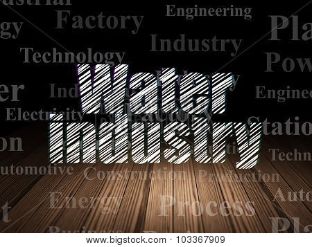 Manufacuring concept: Water Industry in grunge dark room