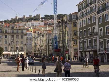 People In Figuera Square In Lisbon