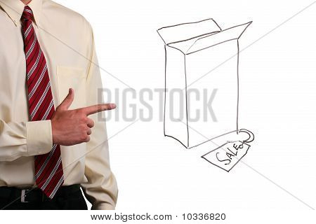Man Pointing At A Box