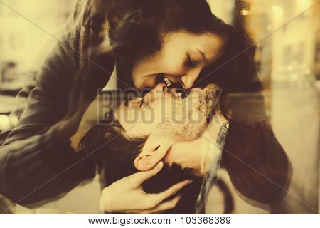 Girl kiss her boyfriend