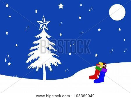 Christmas Scene With Stockings And Moon