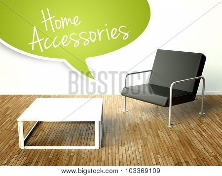3D Home Accessories With Table And Armchair