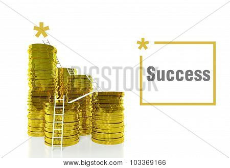Way To Success Concept, Ladders On Coins