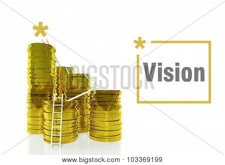 Vision Of Success Concept, Ladders On Coins