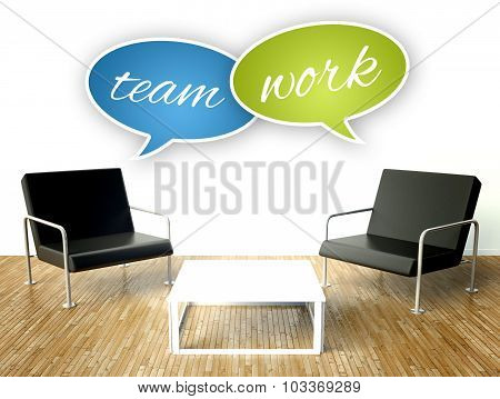 Teamwork Concept, Office Interior With Armchairs