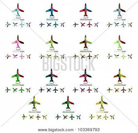 Set of color airplane logo icons. Business, app, web design symbol template