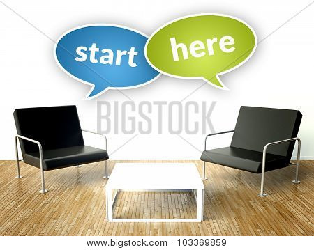 Start Here Business Concept, Office Interior With Armchairs