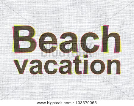Travel concept: Beach Vacation on fabric texture background