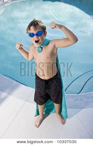 Boy Superhero Protecting The Pool