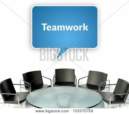 Teamwork Business Concept, Workplace For Negotiations