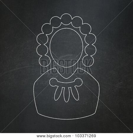 Law concept: Judge on chalkboard background