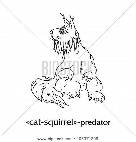 Fantasy predator doodling cat squirrel