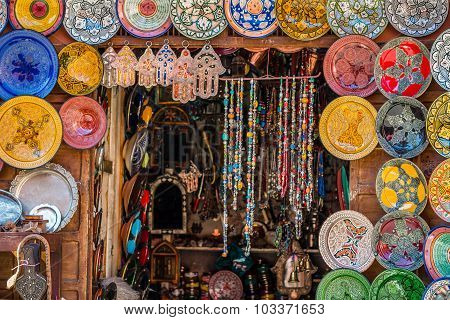 Selective Focus Shot Of A Moroccan Tourist Shop