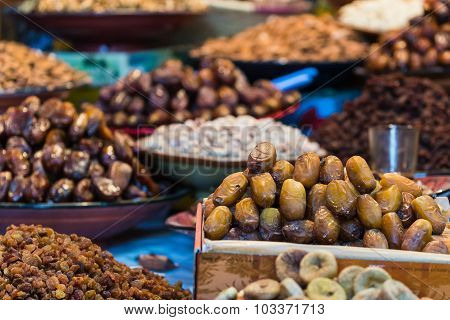 Selective Focus Shot On Dates On A Moroccan Market