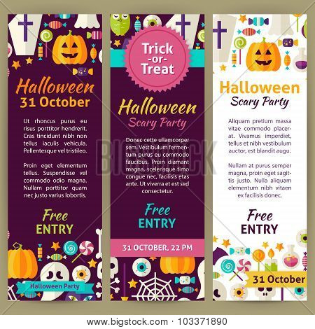 Halloween Holiday Vector Party Invitation Template Flyer Set