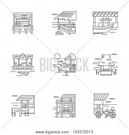 Cafe and bungalows linear vector icons set