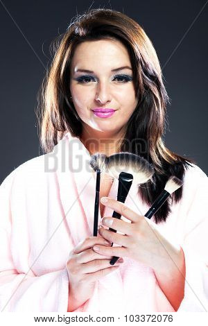 Woman In Bathrobe, Make Up Cosmetic Powder Brushes