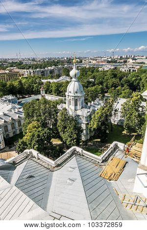 View From The Belfry Of The Smolny Cathedral In St. Petersburg City