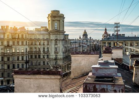 View From The Roof To  St. Isaac's Cathedral In St. Petersburg