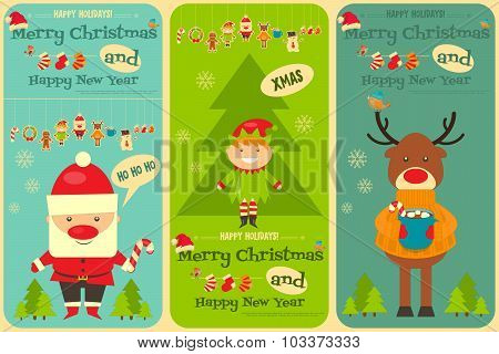 Set Of Cute Christmas Cards