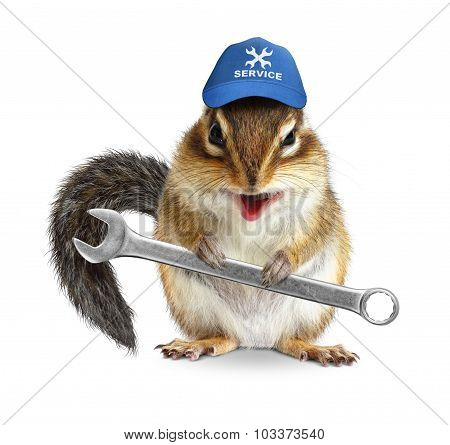 Funny Craftsman Chipmunk With Tool Wrench