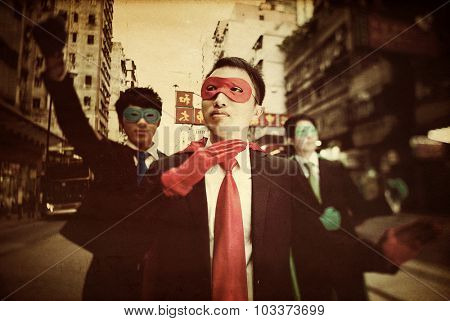Asian Business Superheros Aspiration Courage Concept