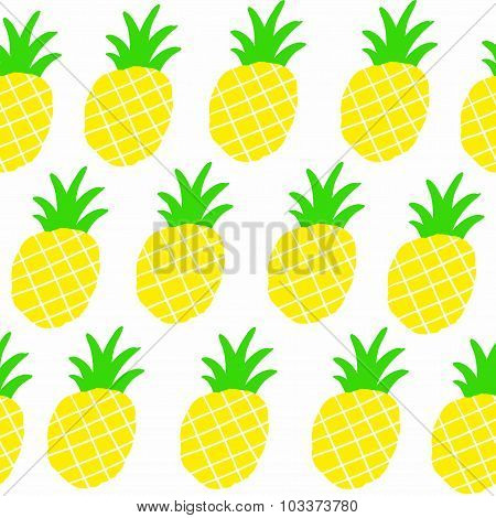 Seamless patten with sweet yellow pineapples.