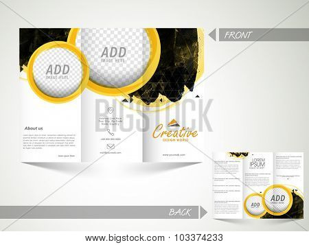 Front and back side presentation of a creative abstract Trifold Brochure, Template or Flyer design with space to add images for Business purpose.