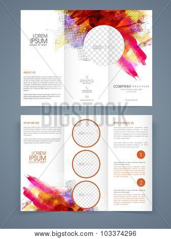 Colorful abstract design decorated, Creative Business Trifold Brochure, Template or Flyer with space to add your images and two sided presentation.
