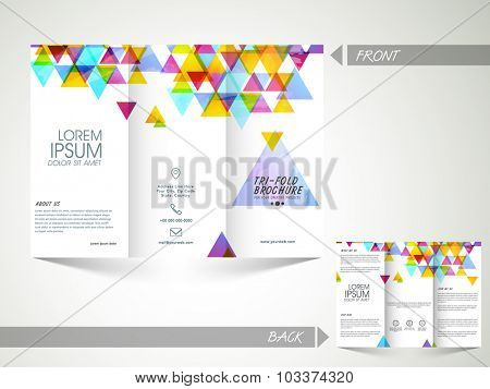 Abstract Trifold Brochure, Template or Flyer design with front and back page presentation for your Business.