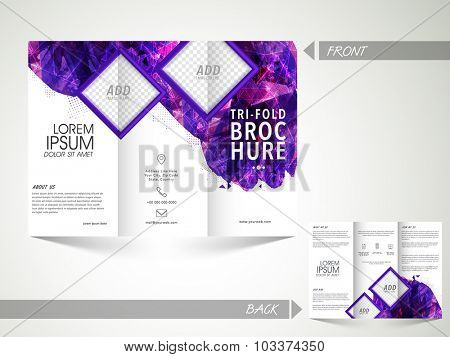 Creative two page professional Trifold Brochure, Template or Flyer design with space to add your images.