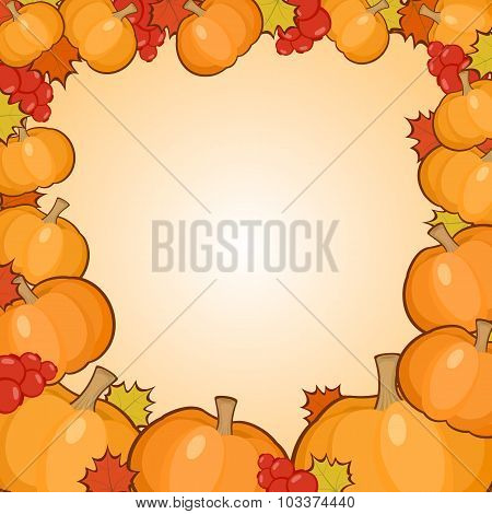 Pumpkins Frame Background, Autumn Border