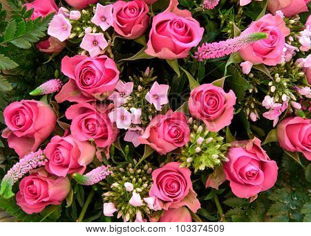 Mixed Boquet With Colorfull Pink Roses