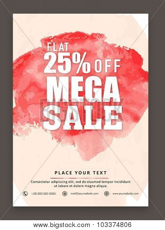 Stylish Mega Sale flyer, banner or template design with 25% discount offer.