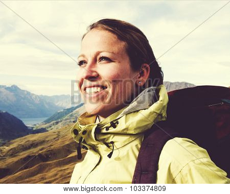 Woman Hiking Mountains New Zealand Concept