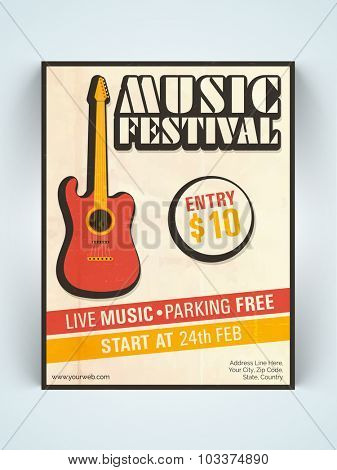 Stylish vintage one page Music Festival Flyer, Banner or Template with guitar.