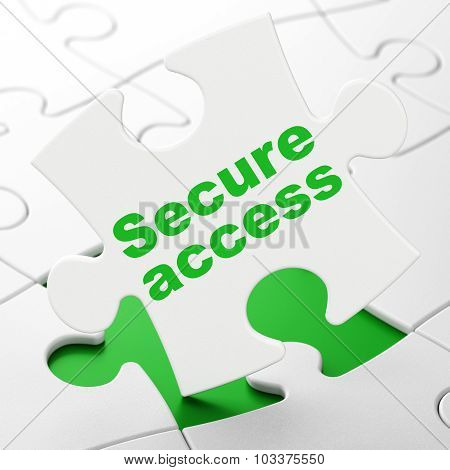 Safety concept: Secure Access on puzzle background