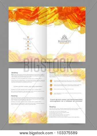 Creative professional Business Brochure, Template or Flyer design, decorated with abstract color splash.