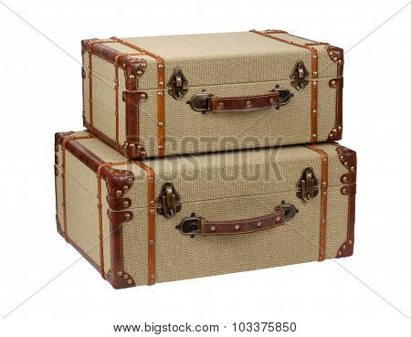 Two Deco Wood Burlap Suitcases