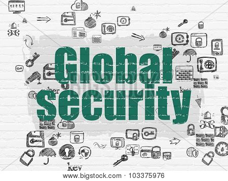 Safety concept: Global Security on wall background