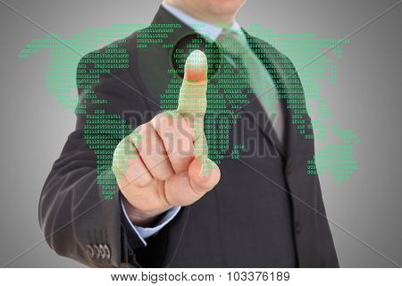 Businessman hand pointing with world map