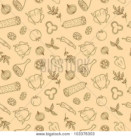 Doodle Meal Seamless Background
