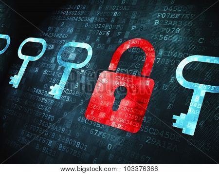 Safety concept: Padlock And Key on digital background