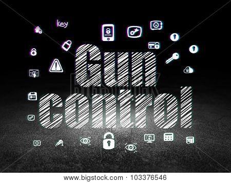 Privacy concept: Gun Control in grunge dark room